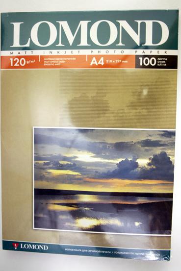 Бумага фото матовая А4/120/100 LOMOND