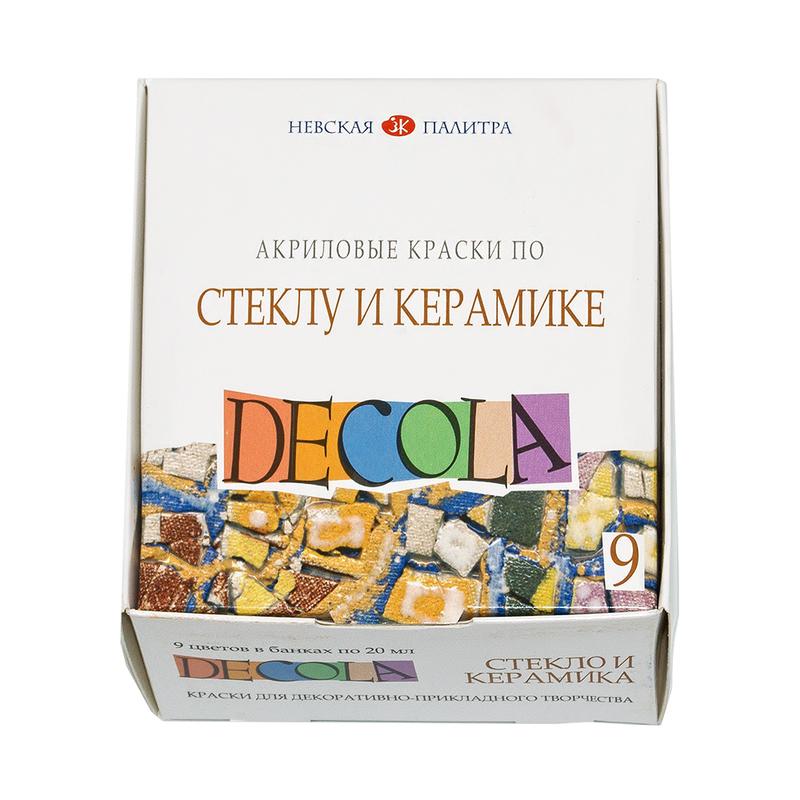 Краски акрил 9цв 20мл по стеклу и керамике DECOLA