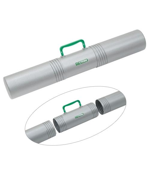 Тубус с ручкой 3-х секционный диаметр 10 см, длина 65 см серый СТАММ