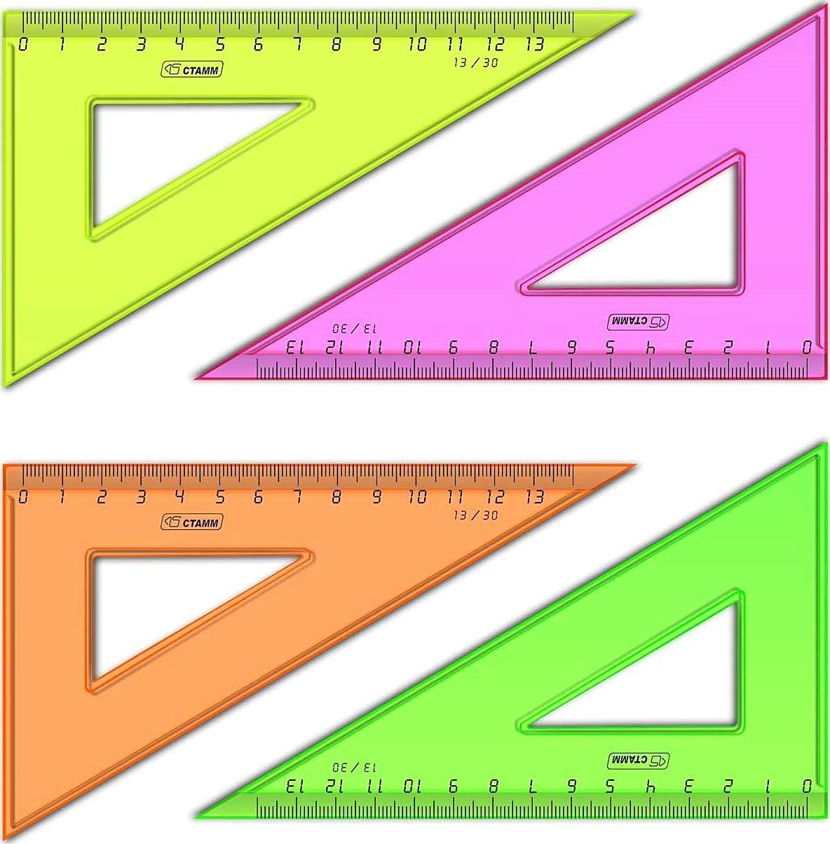 Треугольник СТАММ 30*13см флюоресцветный прозрачный