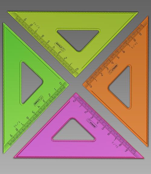 Треугольник СТАММ 45*9см флюоресцветный прозрачный