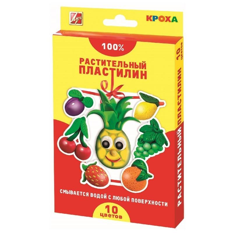 Пластилин 10цв растительный КРОХА
