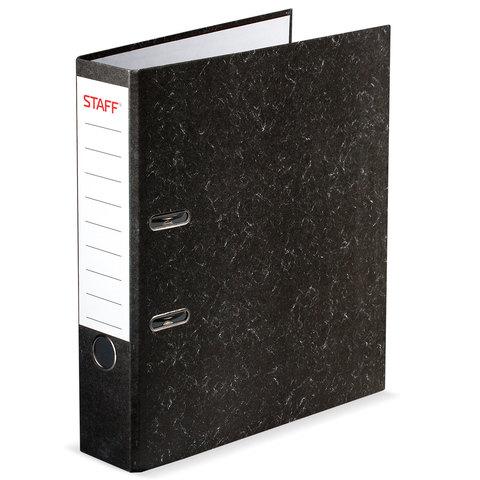 Папка-регистратор 70мм STAFF мраморно черный
