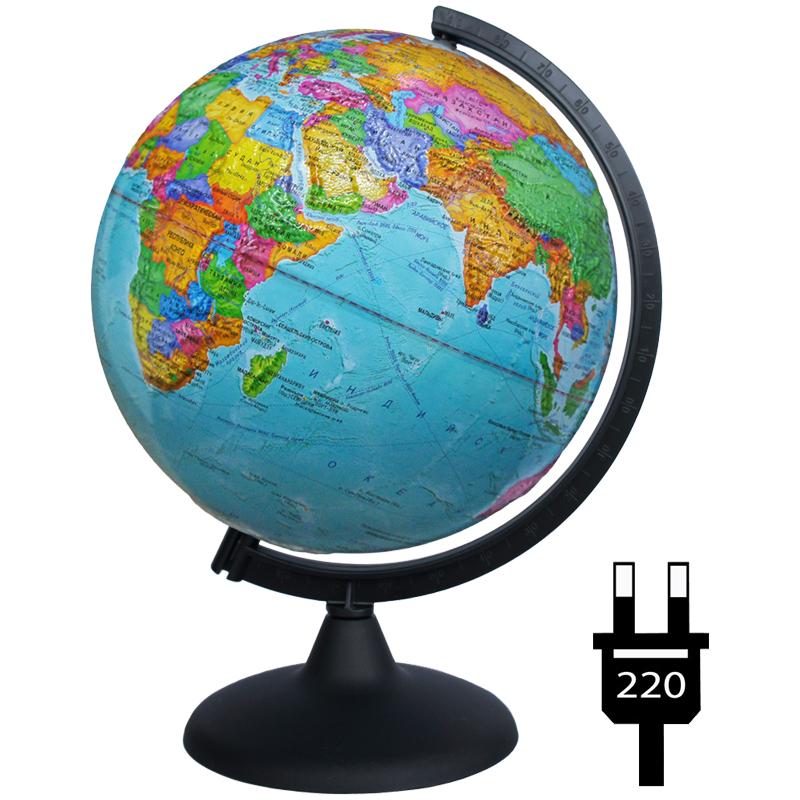 Глобус 250мм политический рельефный с подсветкой