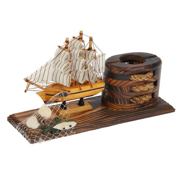 Набор настольный Корабль +карандашница