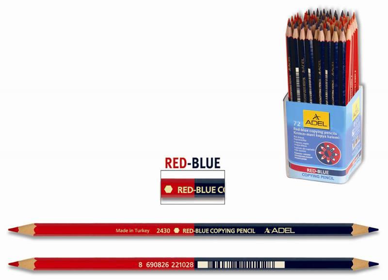 Карандаш химический красно-синий, НВ ADEL