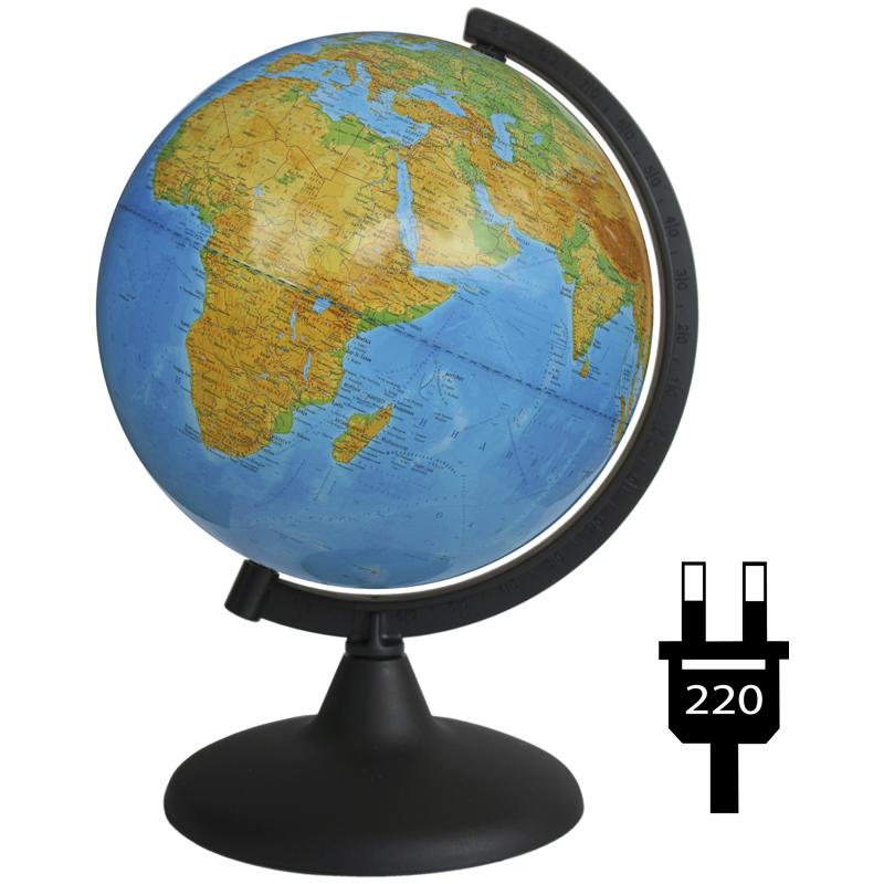 Глобус 210мм физический с подсветкой рельефный